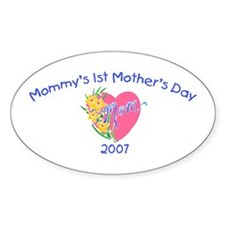 Mommy's 1st Mother's Day (Heart) Oval Decal