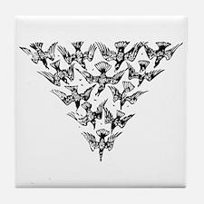 Cute Murder of crows Tile Coaster