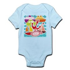Patchwork Things in the Water Infant Bodysuit