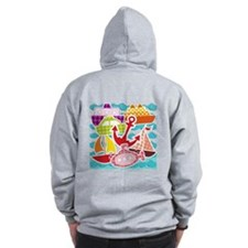 Patchwork Things In The Water Zip Hoodie