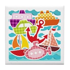 Patchwork Things in the Water Tile Coaster