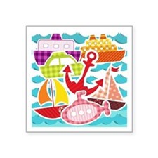 """Patchwork Things in the Water Square Sticker 3"""" x"""