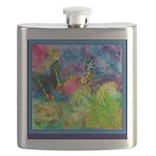 Madagascar Splash Blue Trim Flask
