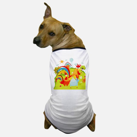 Rooster and Chicken on Farm Dog T-Shirt