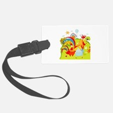 Rooster and Chicken on Farm Luggage Tag