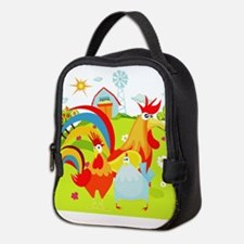 Rooster And Chicken On Farm Neoprene Lunch Bag