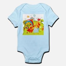 Rooster and Chicken on Farm Infant Bodysuit