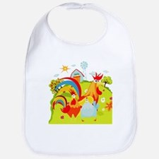 Rooster and Chicken on Farm Bib