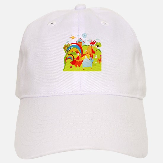 Rooster and Chicken on Farm Baseball Baseball Cap