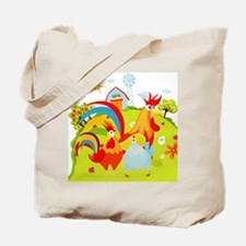Rooster and Chicken on Farm Tote Bag