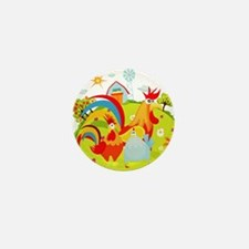 Rooster And Chicken On Farm Mini Button