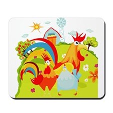 Rooster and Chicken on Farm Mousepad
