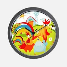 Rooster and Chicken on Farm Wall Clock