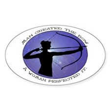 Man created the Bow, A women Oval Decal