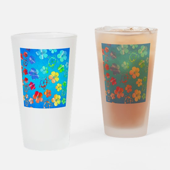 Hawaiian Tie Dyed Honu Drinking Glass