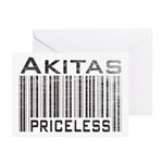 Akita Priceless Weathered Barcode Greeting Cards (