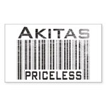 Akita Priceless Weathered Barcode Sticker (Rectang