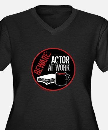 Actor at Work Women's Plus Size V-Neck Dark T-Shir