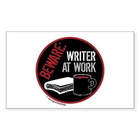 Writer at Work Rectangle Sticker