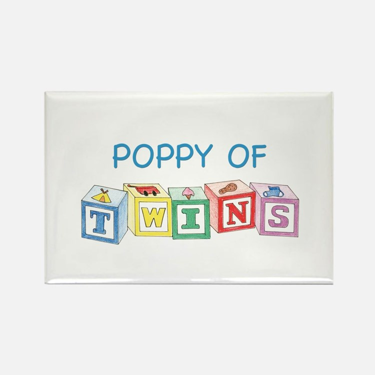 Poppy of Twins Blocks Rectangle Magnet