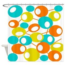 mid century Modern Circles 1 QUEEN Shower Curtain