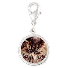 Daisy Cat Silver Round Charm