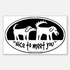 Nice to meet you  dog sniff Sticker (Rectangle)