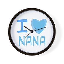 Blue I Heart (Love) Nana Wall Clock