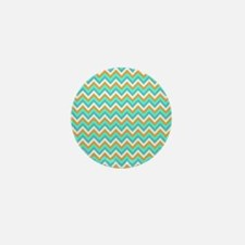 Turquoise,orange Chevrons Mini Button