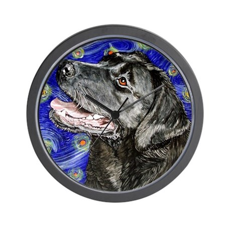 Starry Night Black Labrador Wall Clock