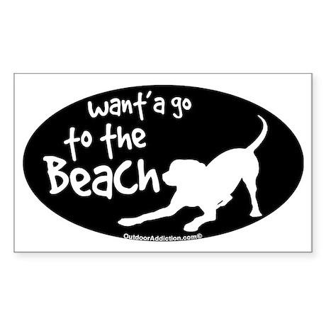 Wanta go to the beach dog Sticker (Rectangle)