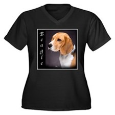 Beagle Puppies Women's Plus Size V-Neck Dark T-Shi