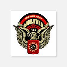 "Motor City Militia 313 Detr Square Sticker 3"" x 3"""