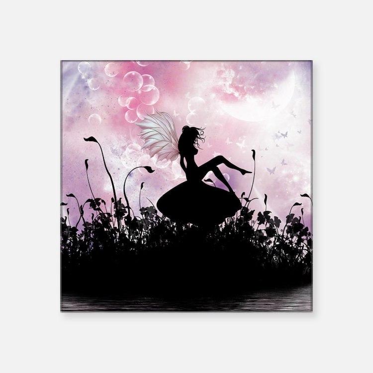 """Fairy Silhouette Square Sticker 3"""" x 3"""""""
