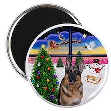 R-XmasWindow-German Shepherd Magnet