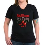 50th personalized Womens V-Neck T-shirts (Dark)