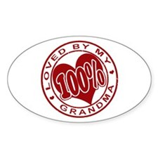 100% Loved By My Grandma Oval Decal