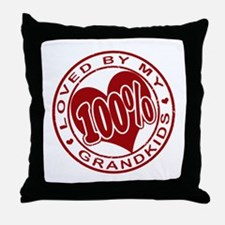 100% Loved by my Grandkids Throw Pillow
