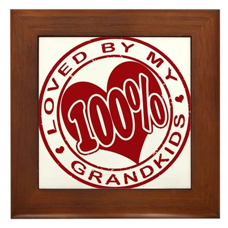 100% Loved by my Grandkids Framed Tile