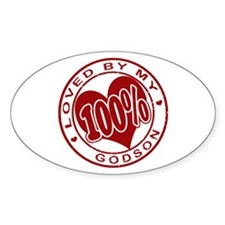 100% Loved by my GodSon Oval Decal
