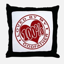 100% Loved By My GodFather Throw Pillow