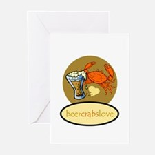 Beer & Crabs Greeting Cards (Pk of 10)