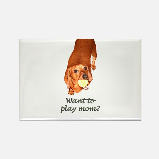 Want to Play Mom Dachshund Dog Rectangle Magnet