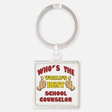 Thumbs Up Worlds Best School Couns Square Keychain