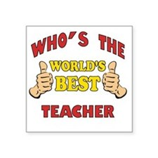 "Thumbs Up Worlds Best Schoo Square Sticker 3"" x 3"""