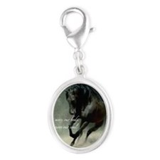 Four feet move your soul Silver Oval Charm