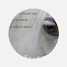 "The softness of a horses eye 3.5"" Button"