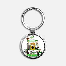 Christmas Cat Tree Round Keychain
