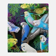 Budgerigars in Ferns Throw Blanket