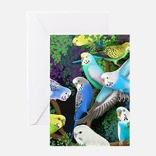 Budgerigars in Ferns Greeting Card